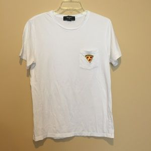 pizza embroidery t-shirt